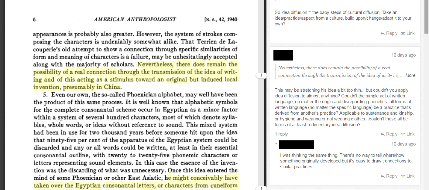 The Side Panel Toggles Open And Closed, While The Annotated Sections  Passages Of The Main Text Are Highlighted (student Names Are Redacted To  Preserve